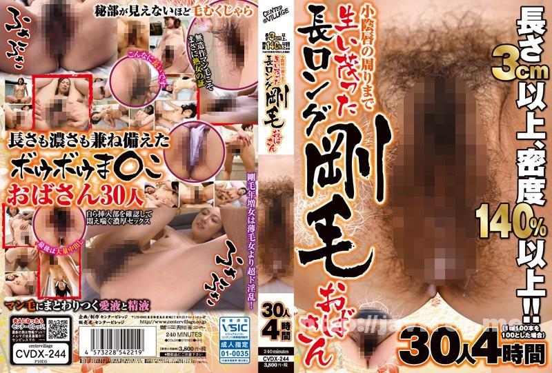 [CVDX-244] 長さ3cm以上、密度140%以上!!(1平方センチメートル100本を100とした場合) 小陰唇の周りまで生い茂った長ロング剛毛おばさん 30人4時間
