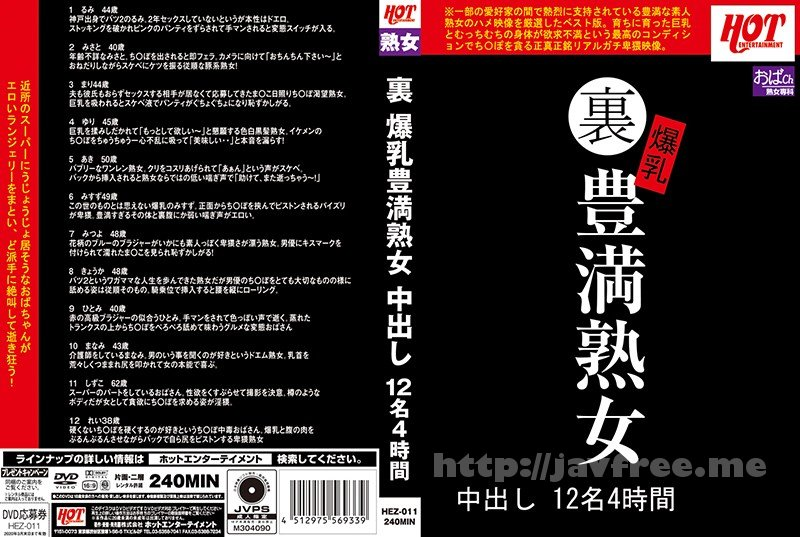 [HEZ-011] 裏 爆乳豊満熟女 中出し12名4時間 - image HEZ-011 on https://javfree.me