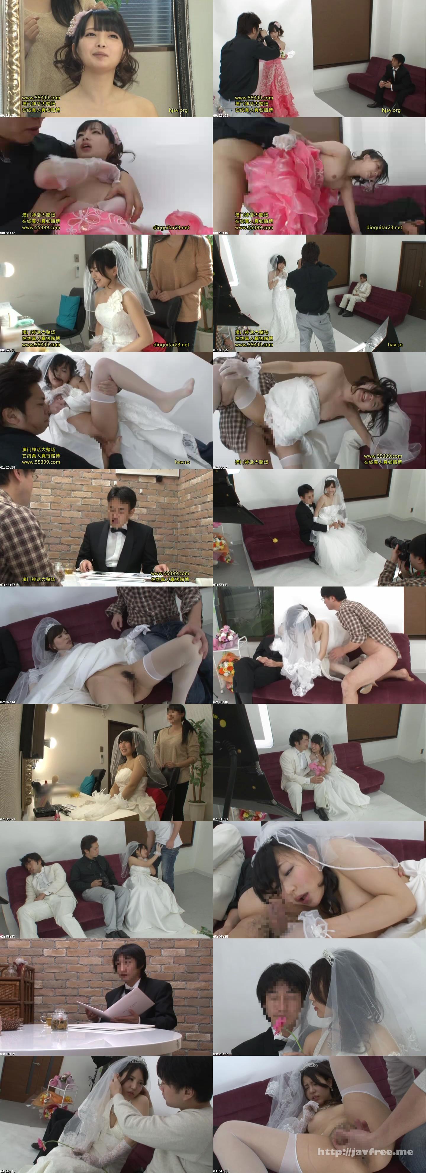 [HUNT-856] 結婚式前にウェディングドレス姿で記念写真を撮影する幸せ絶頂のカップルの花嫁に『媚薬』、新郎に『眠剤』を飲ませたら、ウェディングドレス姿の花嫁が発情!寝ている新郎の目の前で他人のチ○ポを求め、ヨダレをダラダラ流しながら腰を振りまくって初めての浮気! - image HUNT-856 on https://javfree.me